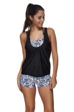 Womens 3pcs Strappy Floral Printed Sports Style Tankini Suit Blue