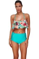 Womens Floral Ruffled Bikini Top&High Waist Swimsuit Bottom Blue
