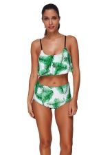 Womens Feather Ruffled Top&High Waist Swimsuit Suit Light Green