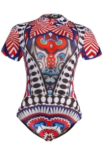 Womens One Piece Tribal Printed Short Sleeve Classic Swimsuit Blue
