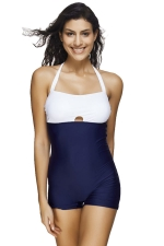 Womens Halter Color Block Backless One Piece Swimsuit Navy Blue