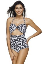 Womens Halter Cut Out Floral Printed Bandeau Monokini Black