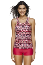 Womens Exotic Printed Strappy Two-piece Tankini Suit Red