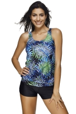 Womens Leaf Printed Two-piece Tankini Suit Green