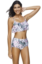 Womens Floral Printed Ruffle High Waist Bikini Suit Pink
