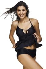 Womens Cut Out Asymmetric Hem 2PCS Tankini Suit Black