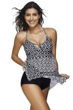 Womens Cut Out Asymmetric Hem Geometric Print 2PCS Tankini Suit White
