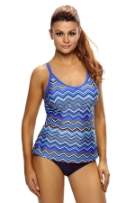 Womens Wave Printed Cutout Racerback Two-piece Tankini Suit Blue