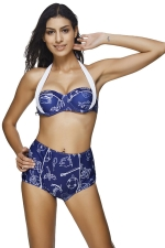 Womens Halter Bandeau Printed High Waist 2pcs Bikini Set Sapphire Blue