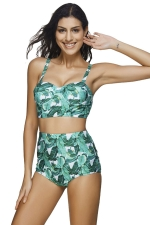 Womens Retro 2PCS Leaf Printed High Waist Bikini Suit Green