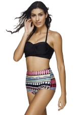 Womens Halter Color Block Dot Printed High Waist 2PCS Bikini Set Black