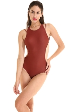 Womens Plain Strappy Open Back Cut Out One Piece Swimsuit Dark Red