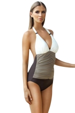 Womens Halter Color Block Ruched One Piece Swimsuit Gray