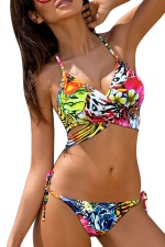 Womens Floral Lace-up Bikini Top&Double-string Swimsuit Bottom Yellow