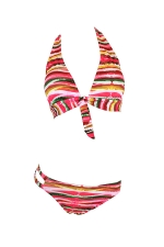 Womens Striped Printed Bikini Top&Cutout Swimsuit Bottom Rose Red