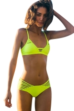 Womens Strappy Cut Out Two-piece Bikini Suit Green