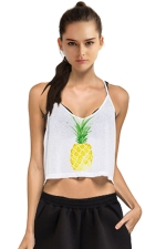 Womens V-neck Pineapple Printed Camisole Crop Top White