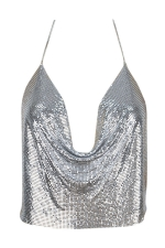 Womens Chain Halter Plunging Neck Backless Sequined Crop Top Silvery