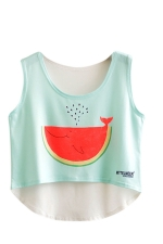 Womens High Low Watermelon Fish Printed Sleeveless Crop Top Red