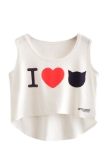 Womens High Low I LOVE CAT Printed Sleeveless Crop Top White