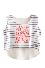 Womens High Low Stripe Letter Printed Sleeveless Crop Top Red