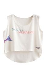 Womens High Low Mermaid Printed Sleeveless Crop Top White