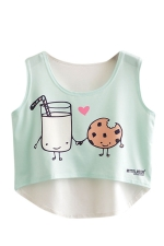 Womens High Low Milk and Cookie Printed Sleeveless Crop Top Light Blue
