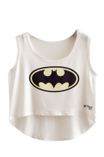 Womens High Low Batman Printed Sleeveless Crop Top White