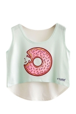 Womens High Low Doughnut Printed Sleeveless Crop Top Light Blue