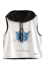 Womens Sleeveless Teacup Storm Print Drawstring Hooded Crop Top Black