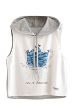Womens Sleeveless Teacup Storm Printed Drawstring Hooded Crop Top Gray
