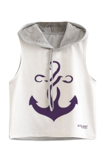 Womens Sleeveless Boat Anchor Printed Drawstring Hooded Crop Top Gray