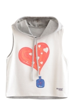 Womens Sleeveless Love Perfume Printed Drawstring Hooded Crop Top Gray