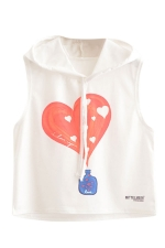 Womens Sleeveless Love Perfume Print Drawstring Hooded Crop Top White