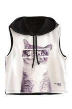 Womens Sleeveless Cat Printed Drawstring Hooded Crop Top Black