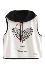Womens Sleeveless Heart Balloon Print Drawstring Hooded Crop Top Black