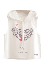 Womens Sleeveless Heart Balloon Print Drawstring Hooded Crop Top White