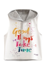Womens Sleeveless Letter Printed Drawstring Hooded Crop Top Gray