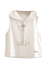 Womens Sleeveless Dandelion Printed Drawstring Hooded Crop Top White
