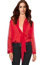 Womens Sheer Bow Lace-up Long Sleeve Chiffon Blouse Red