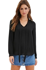 Womens Lace-up V-neck Long Sleeve Chiffon Pullover Blouse Black