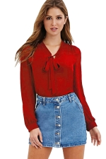 Womens Lace-up V-neck Long Sleeve Chiffon Pullover Blouse Ruby