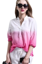 Womens Gradient V-neck Long Sleeve Single-breasted Blouse Pink