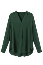 Womens Chiffon V Neck Long Sleeve Plain High Low Blouse Dark Green