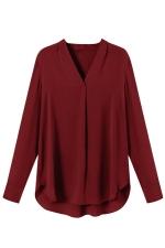 Womens Chiffon V Neck Long Sleeve Plain High Low Blouse Ruby