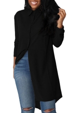 Womens Single-breasted High Low Long Sleeve Plain Blouse Black