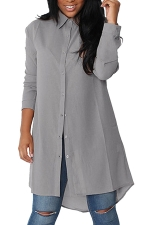 Womens Single-breasted High Low Long Sleeve Plain Blouse Gray