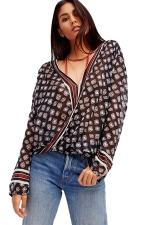 Womens Plunging Neck Striped Printed Long Sleeve Chiffon Blouse Black