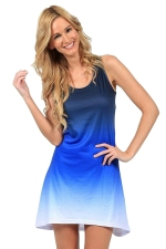 Womens Gradient U Neck Sleeveless Tank Dress Blue