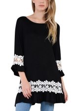 Womens Hollow Out Lace Splicing Ruffled Smock Dress Black